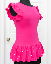 Fuchsia Pearl Frilled Top