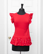 Red Pearl Frilled Top