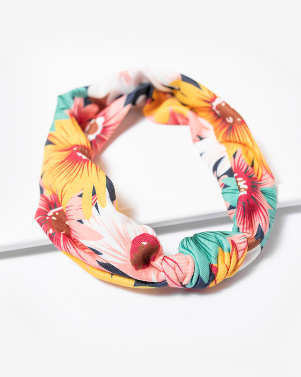 Navy/Coral Tropical Knot Headband