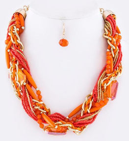 Orange Intertwined Necklace Set
