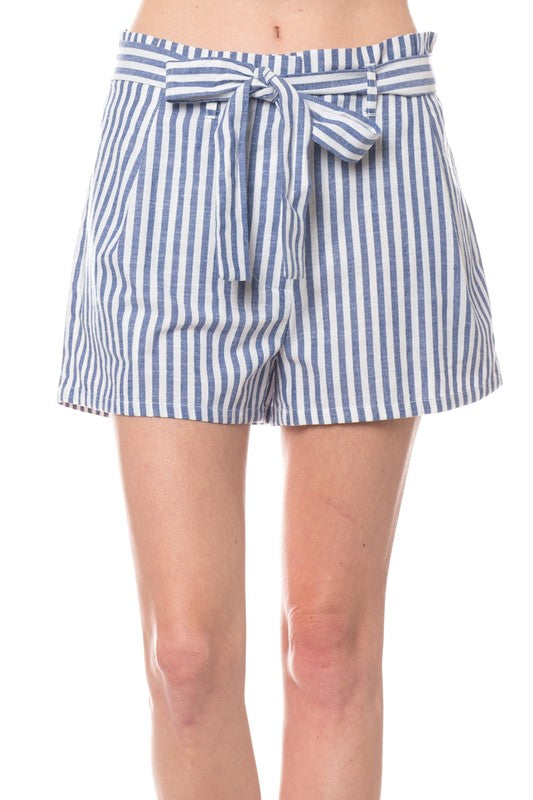 Navy Stripe Ribbon Shorts