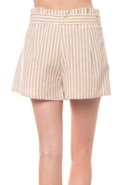 Taupe Stripe Ribbon Shorts