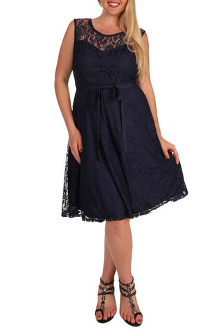 Plus Navy Lace Dress