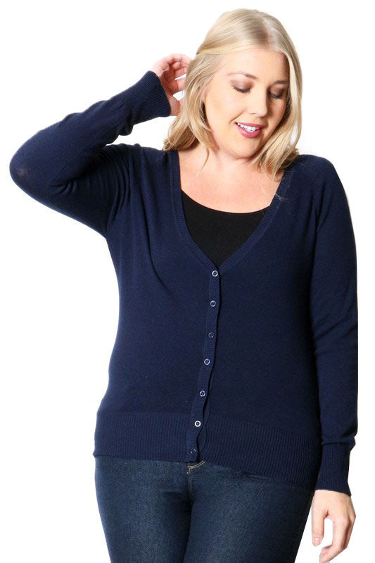 Navy Plus Cardigan