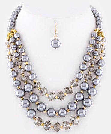 Grey Tri Pearl Necklace Set