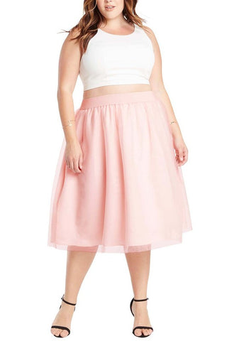 Plus Blush Tulle Midi Skirt