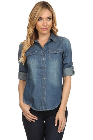 Dark Denim Button Up Top