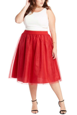 Plus Tomato Tulle Midi Skirt