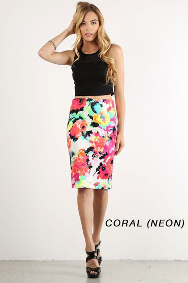 Neon Watercolor Floral Pencil Skirt