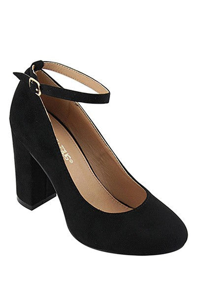 Black Block Heel Pump