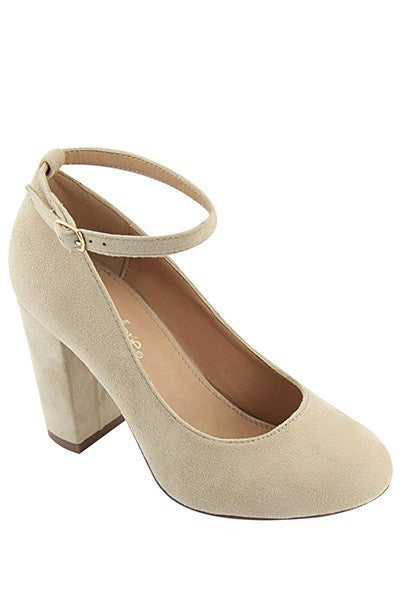 Nude Block Heel Pump