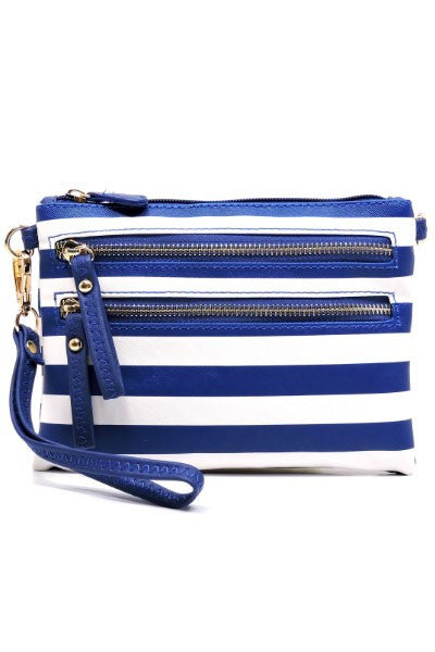 Royal Blue Striped Cross Body Bag