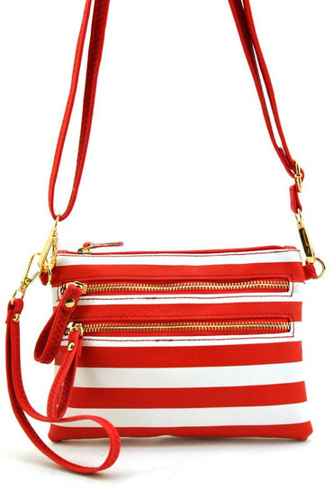 Red Striped Cross Body Bag