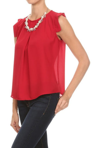 Cranberry Capped Blouse