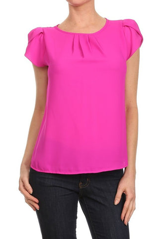 Fuchsia Bubble Sleeve Top