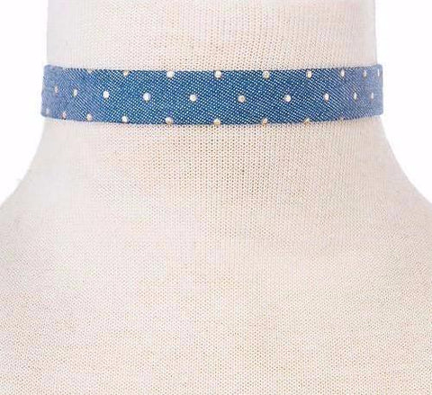 Studded Light Denim Choker