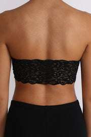 Lace Bandeau Bra - Black
