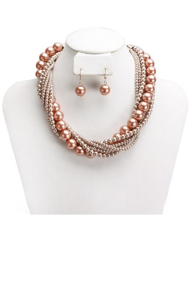 Taupe Multi Strand Twisted Pearl Necklace Set