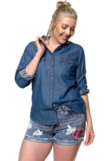 Denim Plus Button Up Top