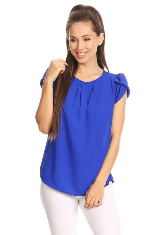 Royal Blue Bubble Sleeve Top