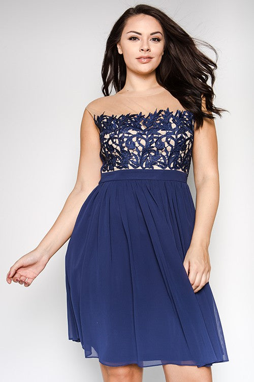Navy Emersyn Plus Dress