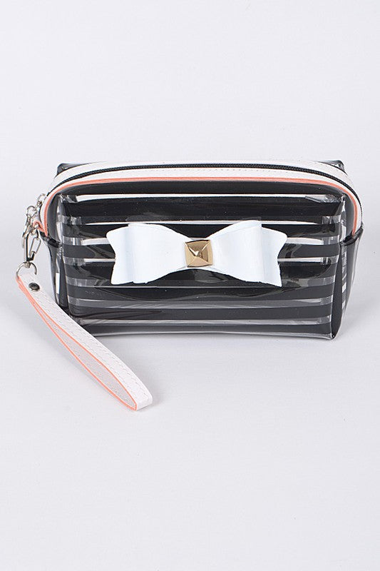 Black Ribbon Striped Cosmetic Pouch