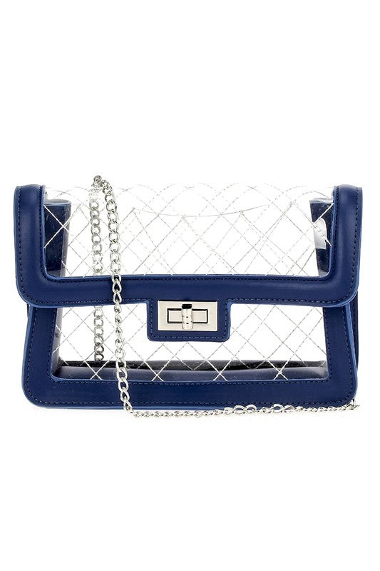 Navy Quilted See Through Bag
