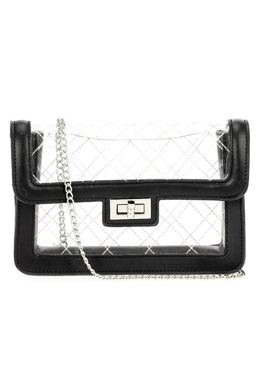 Black Quilted See Through Bag
