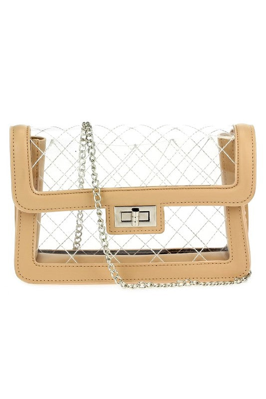Tan Quilted See Through Bag