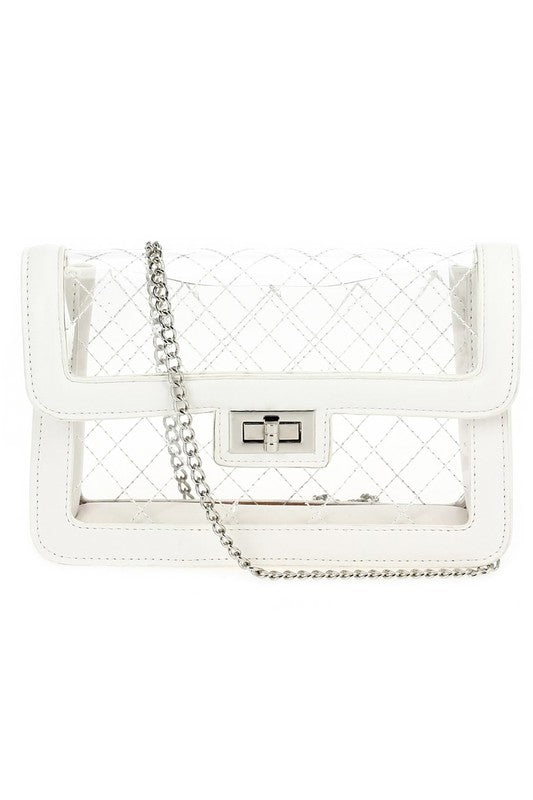 White Quilted See Through Bag