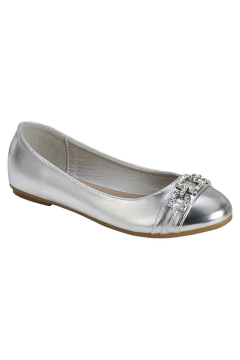 Silver Buckle Flats