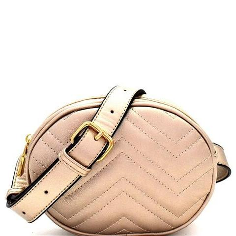 Gold Oval Quilted Fanny Pack