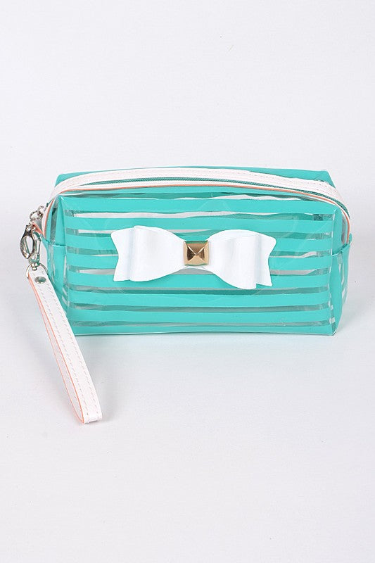 Mint Ribbon Striped Cosmetic Pouch