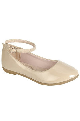 Beige Patent Ankle Flat