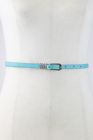 Skinny Belt with Gold X Buckle