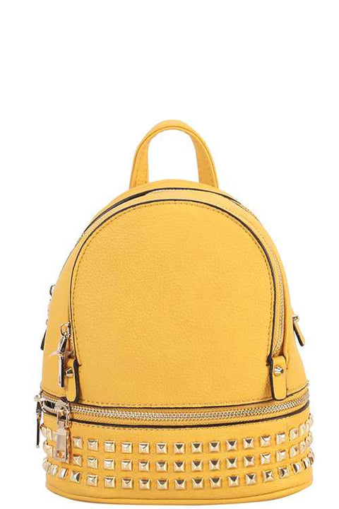 Yellow Studded Mini Backpack