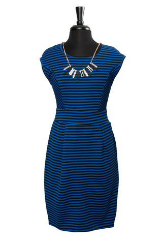 Black & Royal Stripe Illusion Dress