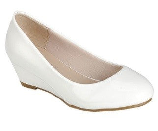 White Patent Wedge