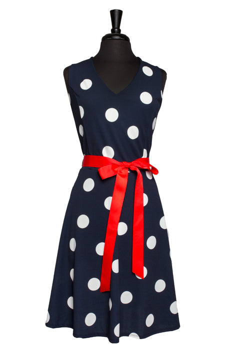 Navy Polka Dot Plus Dress