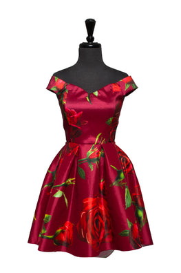 Red Farrah Floral High Low Dress
