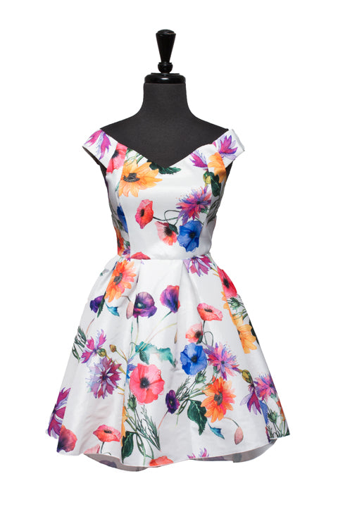Ivory Farrah Floral High Low Dress