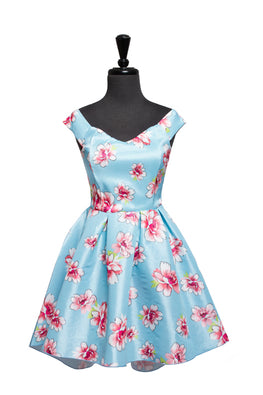 Baby Blue Farrah Floral High Low Dress