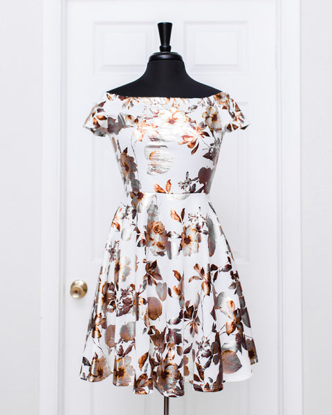 Ivory Metallic Fior Dress