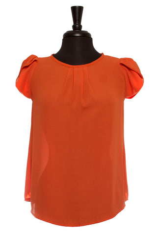 Burnt Orange Bubble Sleeve Top