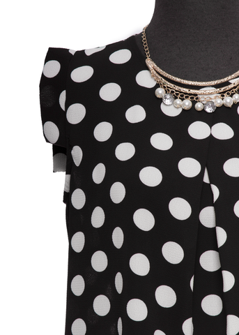 Black & White Polka Dot Capped Blouse