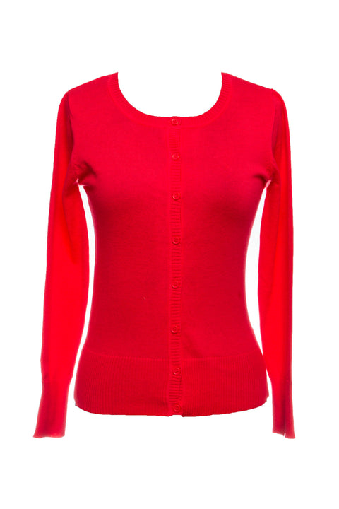 Hot Coral Plus Cardigan