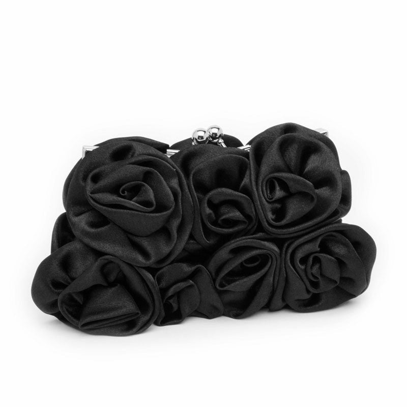 Black Satin Rose Clutch