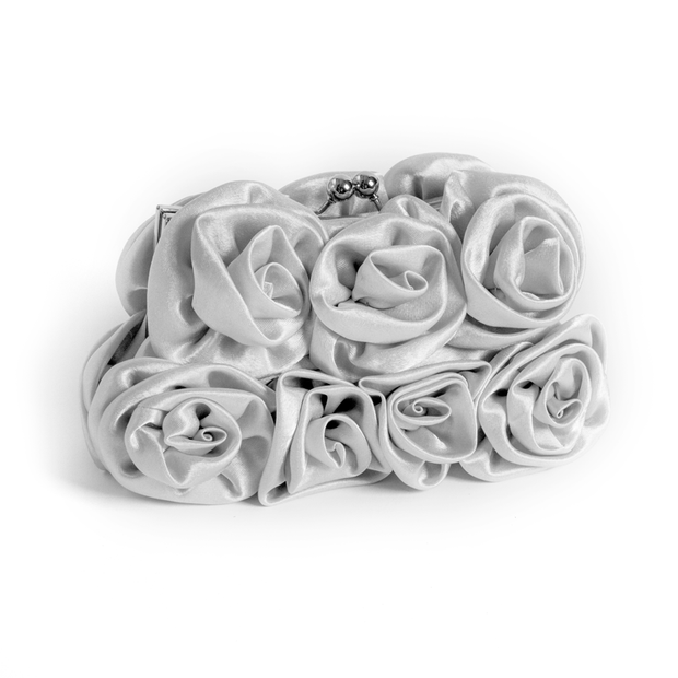 Silver Satin Rose Clutch
