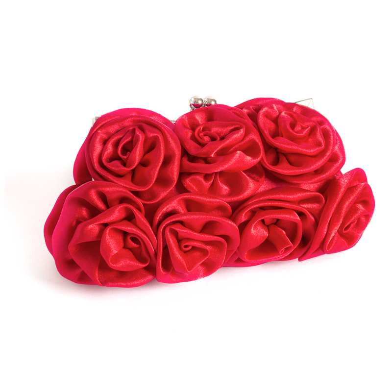 Red Satin Rose Clutch