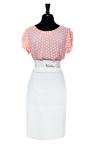Peach Polka Dot Plus Size 2 Pc Set